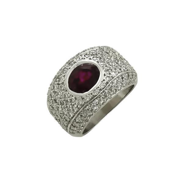 18K White Gold, handmade, Ruby and Diamond ring.