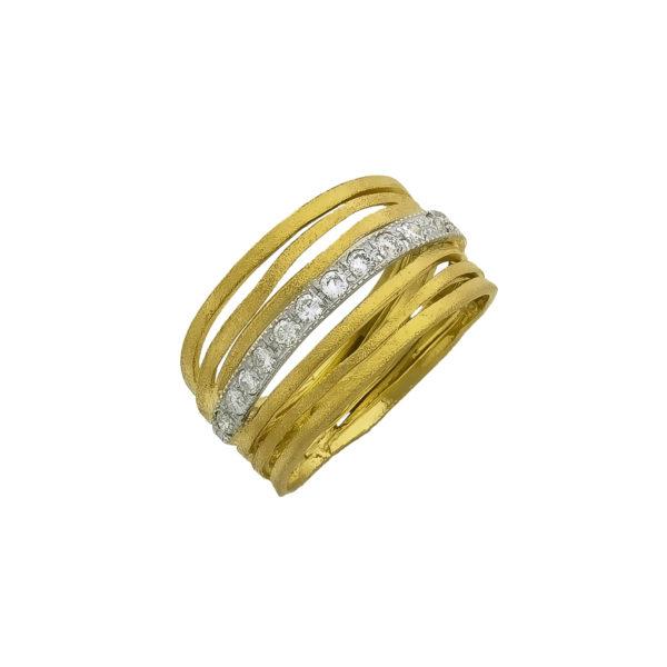 18K Gold and White Gold handmade, Diamond ring.