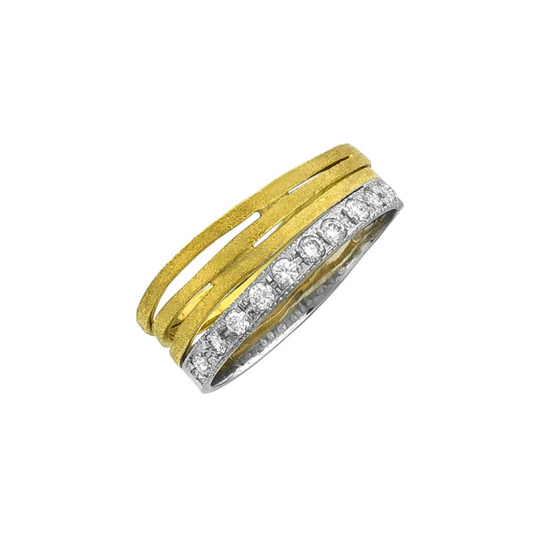 18K Gold and White Gold, handmade, Diamond ring.