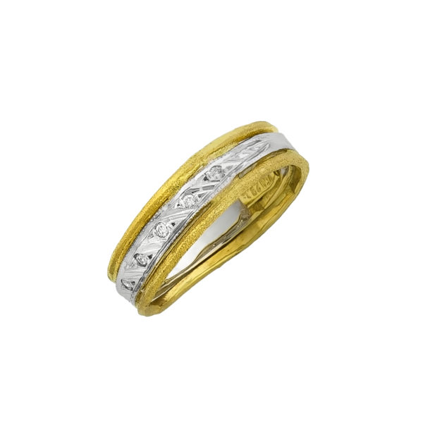 18K Gold and White Gold handmade, Diamond ring.