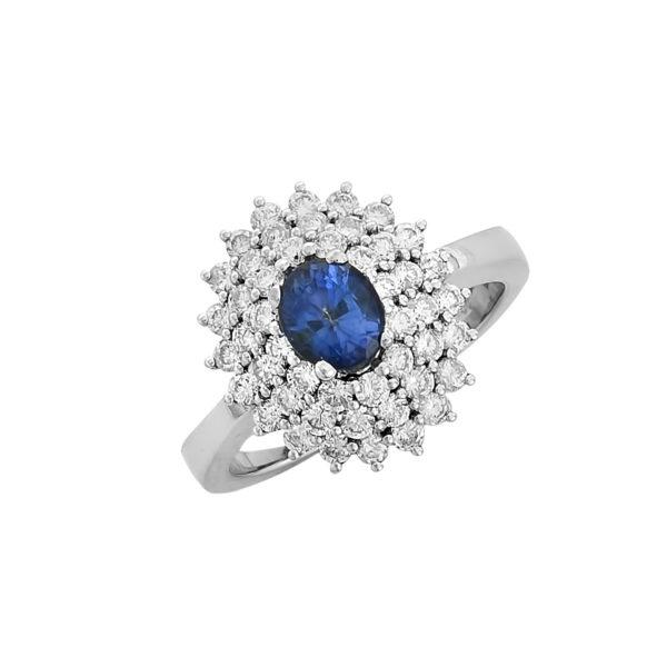 18K white Gold, handmade, Sapphire and Diamond ring.