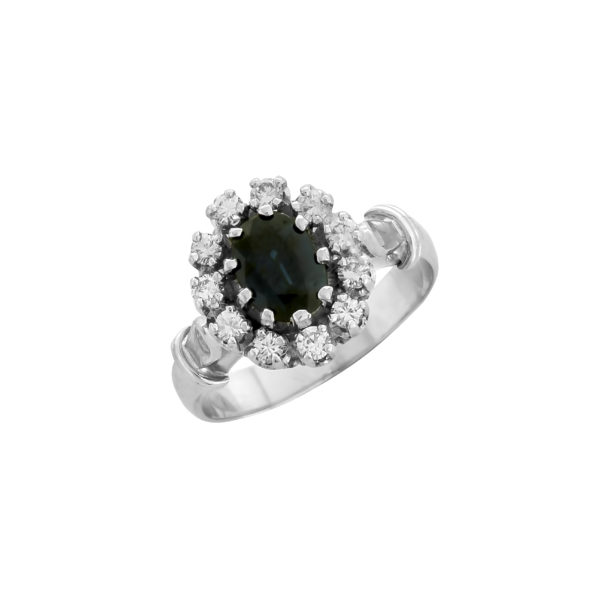18K White Gold, handmade, Diamonds and Saphire rosette ring.