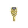 18K Gold, handmade, Diamond and Sapphire peacock ring.