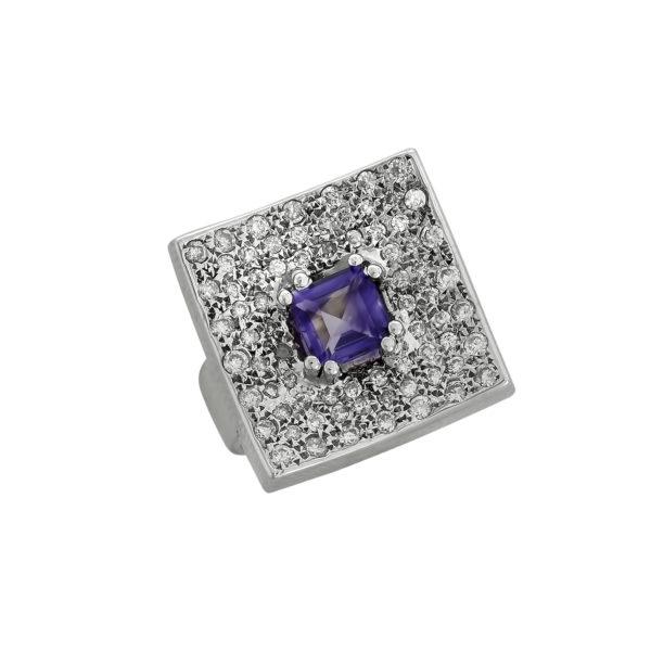 18K White Gold, handmade, Amethyst and Diamond ring.