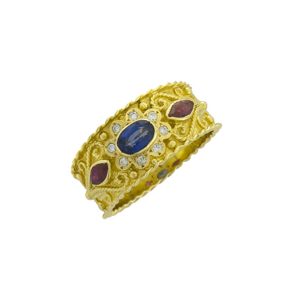 18K Gold handmade, Byzantine ring with Saphire, Rubies and Diamonds.
