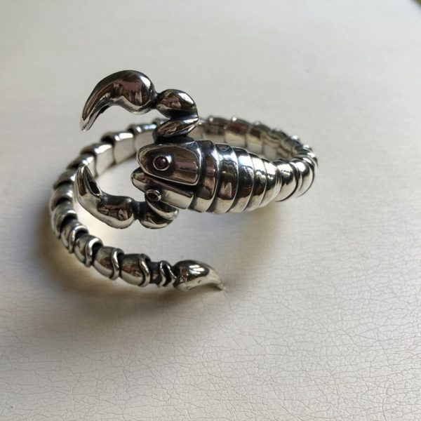 Silver 925, handmade scorpion bracelet with Tourmaline stones.
