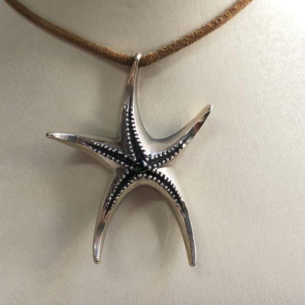 Silver 925, handmade starfish pendant with Tourmaline stone.