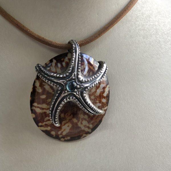 Silver 925, starfish pendant handmade with real sea shell and Tourmaline stone.