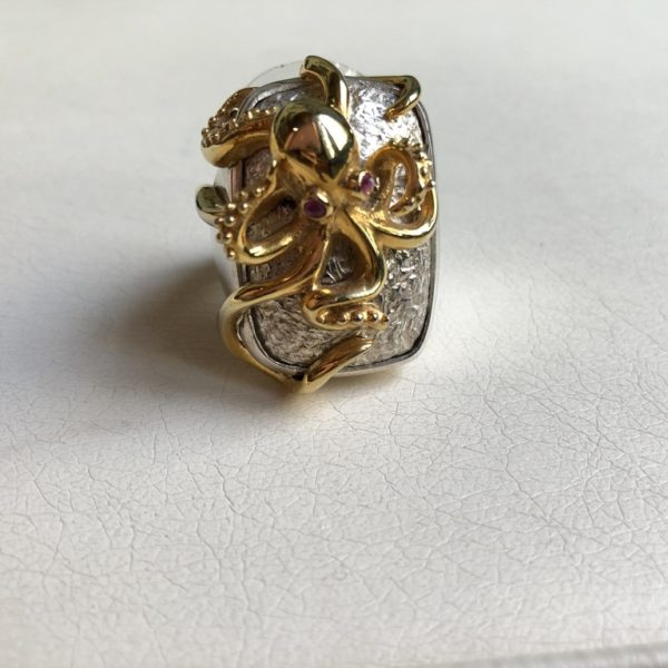 Silver 925, Gold-plated, handmade octopus ring with Ruby stones.