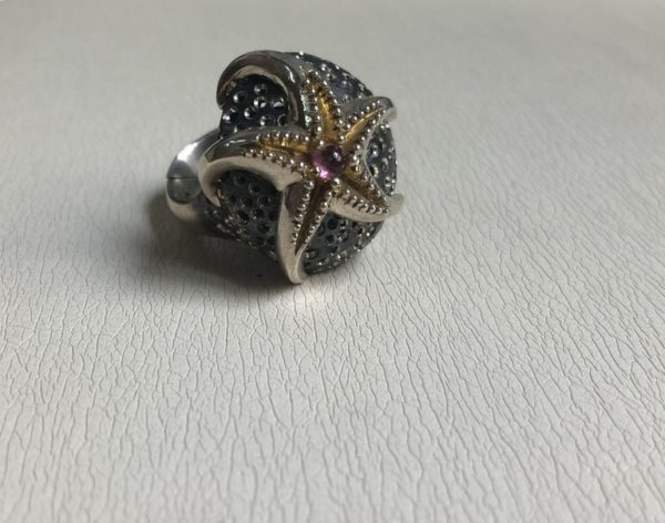 Silver 925, Gold-plated, handmade statfish ring with Tourmaline stone.