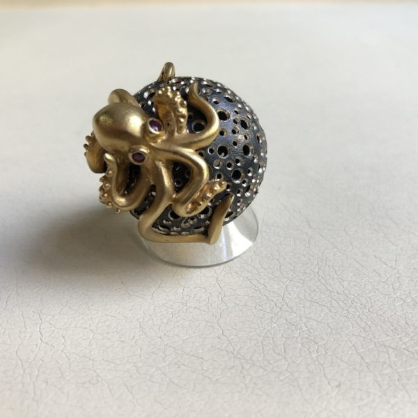 Silver 925, Gold-plated, handmade octopus ring with Ruby eyes.