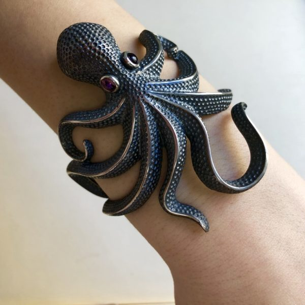 Silver 925, handmade octopus bracelet with Tourmaline stone eyes.