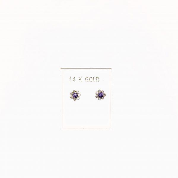 14K Gold, Amethyst and Zircon stud earrings.