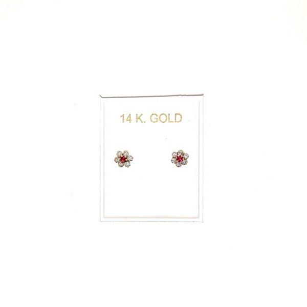 14K Gold, Zircon stud earrings.