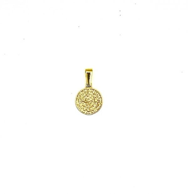 Silver 925, Gold-Plated Phaistos Disk pendant in small size.