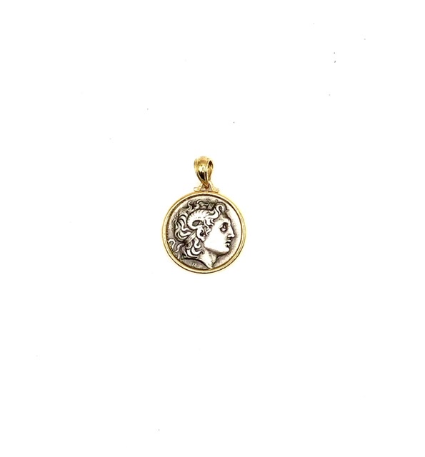Silver 925, Gold Plated, Alexander the Great coin pendant.