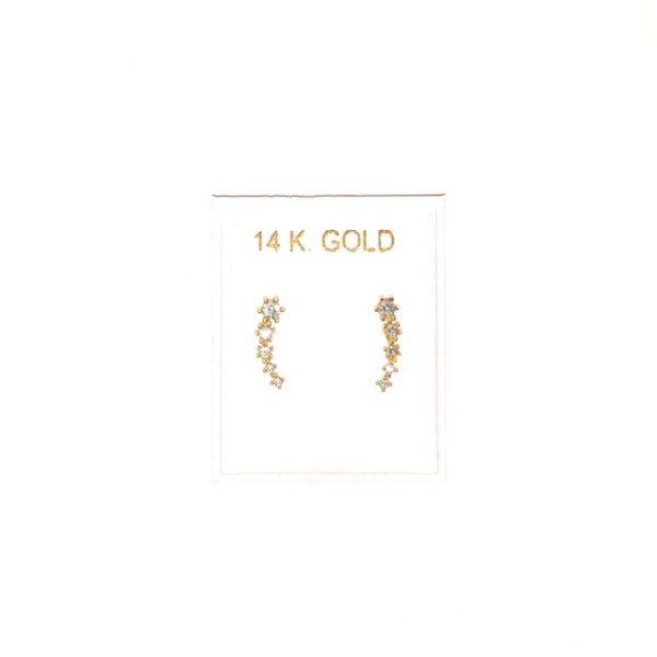 14K Gold, modern stud earrings with Zircon.