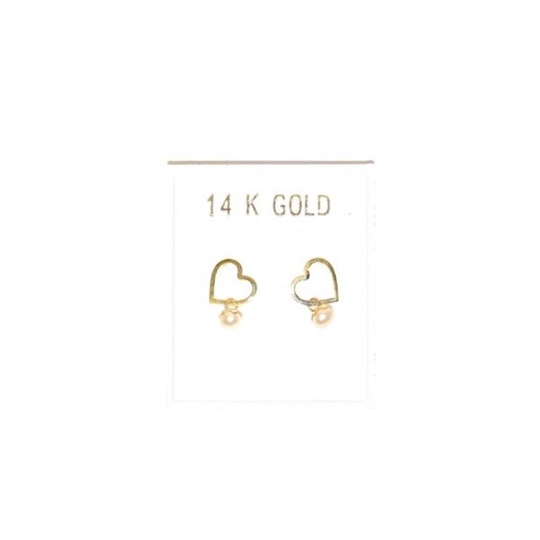 14K Gold heart shape earrings with pearls.