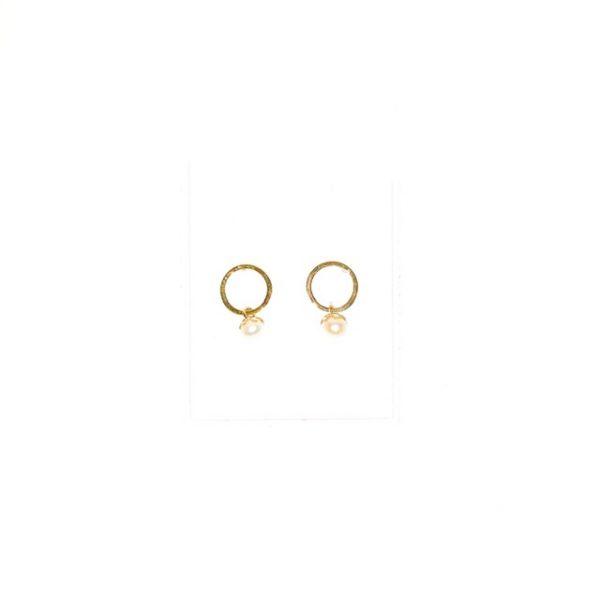 14K Gold modern stud earrings with pearls.