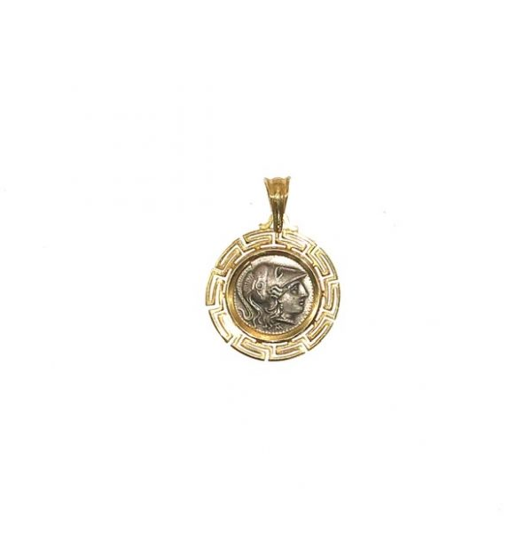 Silver 925, Gold Plated, goddess Athena coin pendant with Greek Key.