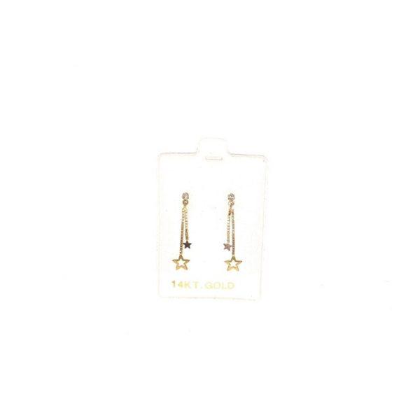 14K Gold dangly star earrings.