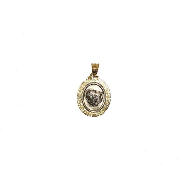 Silver 925, Gold Plated, oval goddess Athena coin pendant with Greek Key.