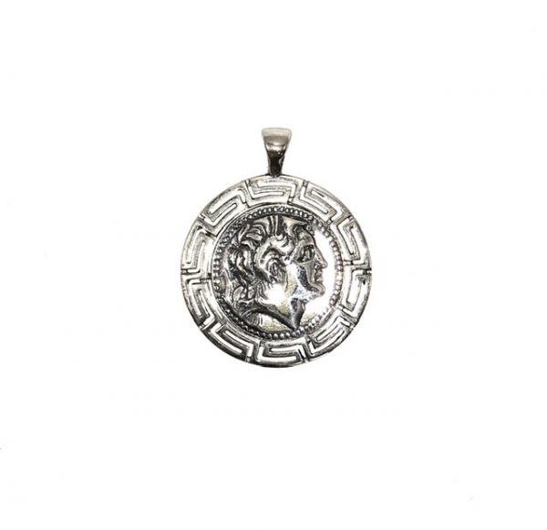 Silver 925, Alexander the Great coin pendant with Greek Key.