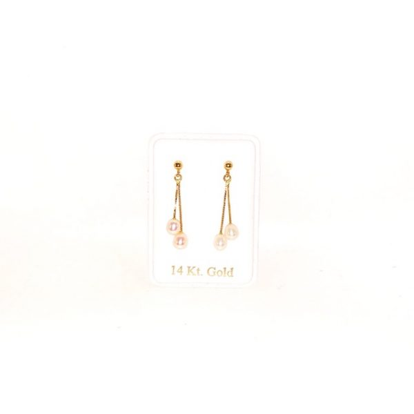 14K Gold modern dangly earrings with Pearls.