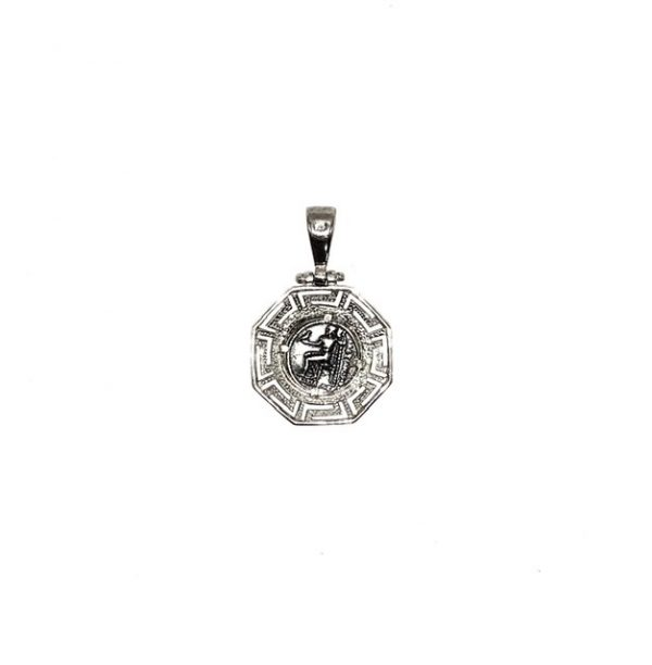 Silver 925, Alexander the Great, coin pendant with Greek Key.