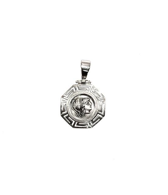 Silver 925, goddess Athena, coin pendant with Greek Key.